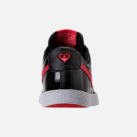 Back view of Girls' Preschool Nike Blazer Heart Casual Shoes in Black/Speed Red/Bleached Coral