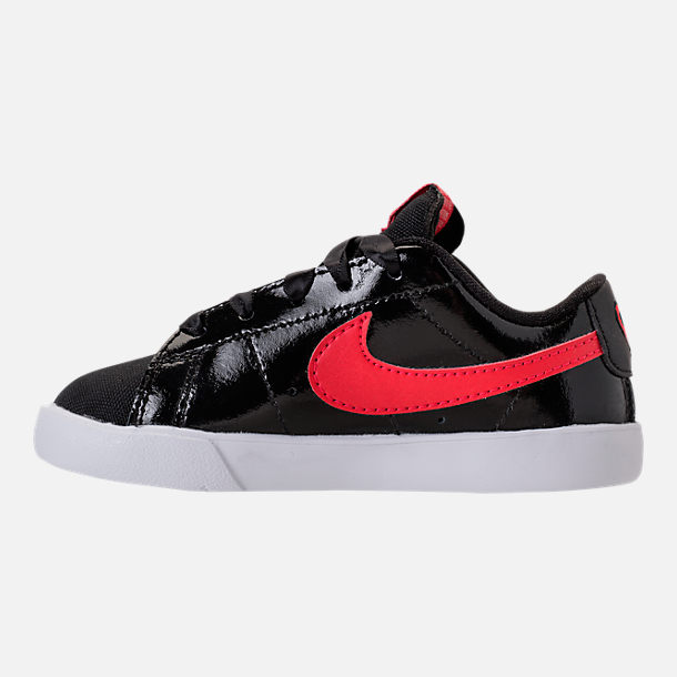 Left view of Girls' Toddler Nike Blazer Heart Casual Shoes in Black/Speed Red/Bleached Coral