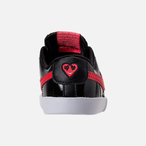 Back view of Girls' Toddler Nike Blazer Heart Casual Shoes in Black/Speed Red/Bleached Coral
