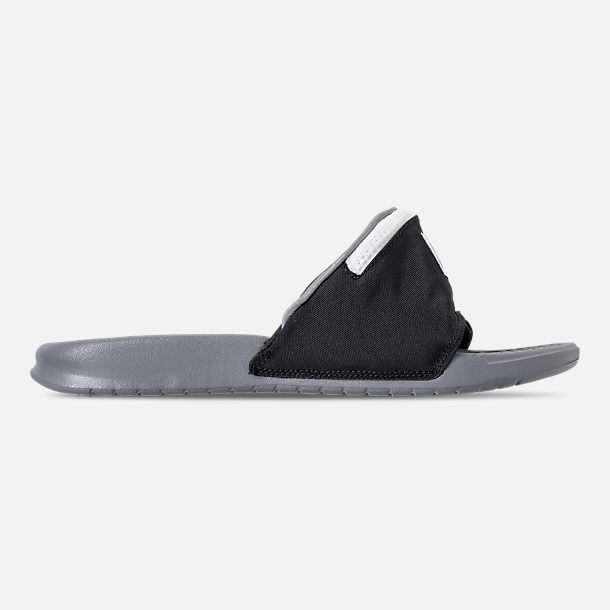 Right view of Men's Nike Benassi JDI Fanny Pack Slide Sandals in Black/Cool Grey/Summit White