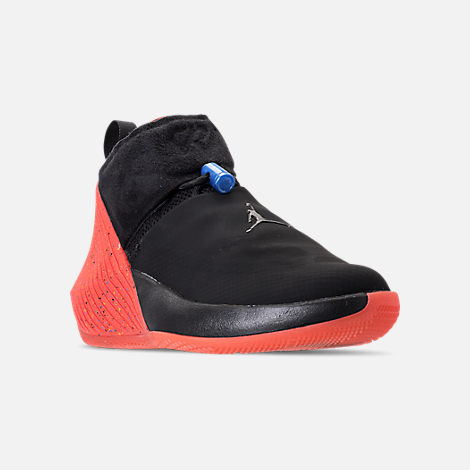 Three Quarter view of Big Kids' Air Jordan Why Not Zer0.1 Basketball Shoes in Black/Signal Blue/Team Orange