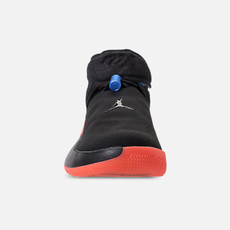 Front view of Big Kids' Air Jordan Why Not Zer0.1 Basketball Shoes in Black/Signal Blue/Team Orange