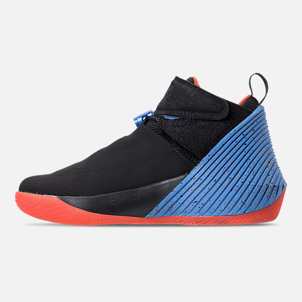 Left view of Big Kids' Air Jordan Why Not Zer0.1 Basketball Shoes in Black/Signal Blue/Team Orange