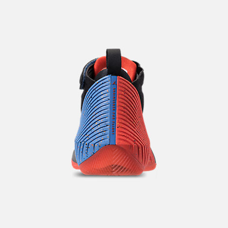 Back view of Big Kids' Air Jordan Why Not Zer0.1 Basketball Shoes in Black/Signal Blue/Team Orange