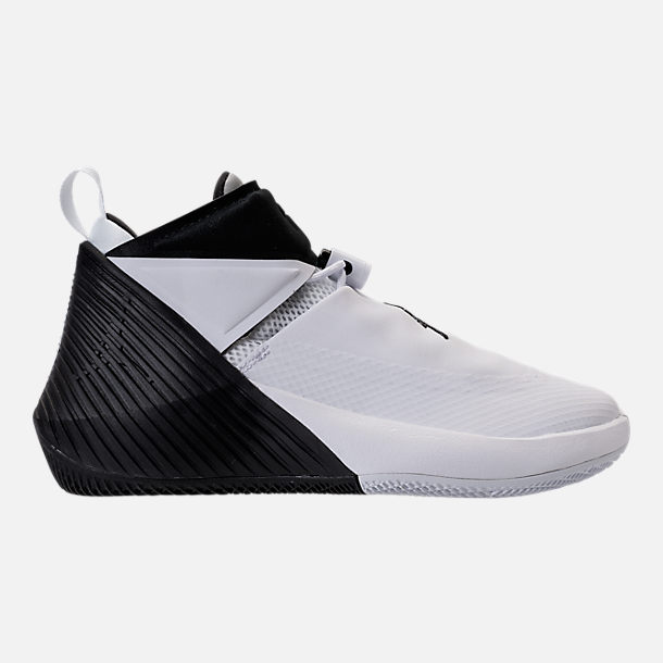 Right view of Kids' Grade School Air Jordan Why Not Zer0.1 Basketball Shoes in White/Black