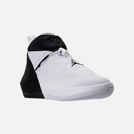 Three Quarter view of Kids' Grade School Air Jordan Why Not Zer0.1 Basketball Shoes in White/Black