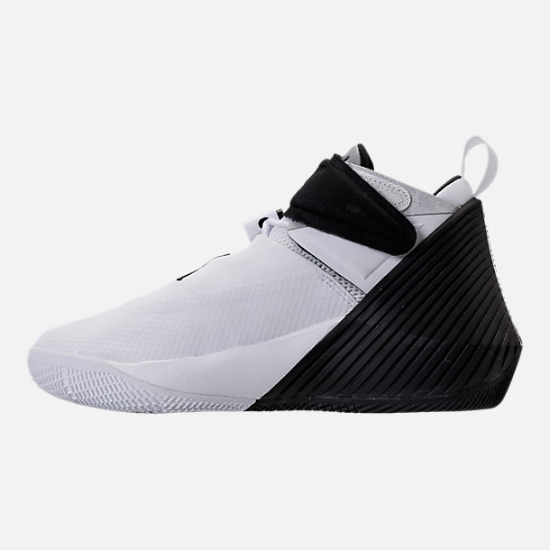Left view of Kids' Grade School Air Jordan Why Not Zer0.1 Basketball Shoes in White/Black