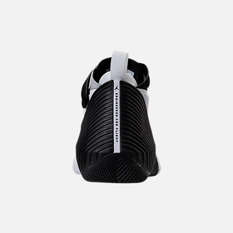 Back view of Kids' Grade School Air Jordan Why Not Zer0.1 Basketball Shoes in White/Black