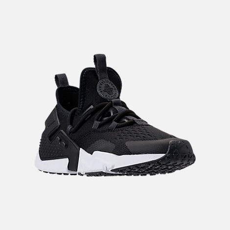Three Quarter view of Men's Nike Air Huarache Drift Breeze Casual Shoes in Black/Anthracite/White