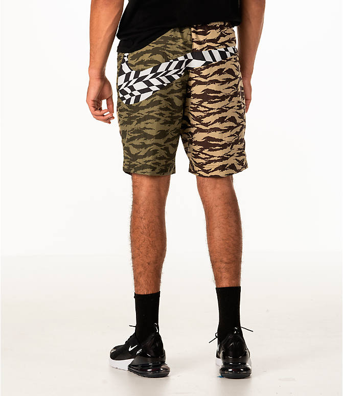Front view of Men's Nike Sportswear Vaporwave Shorts in Medium Olive/Black