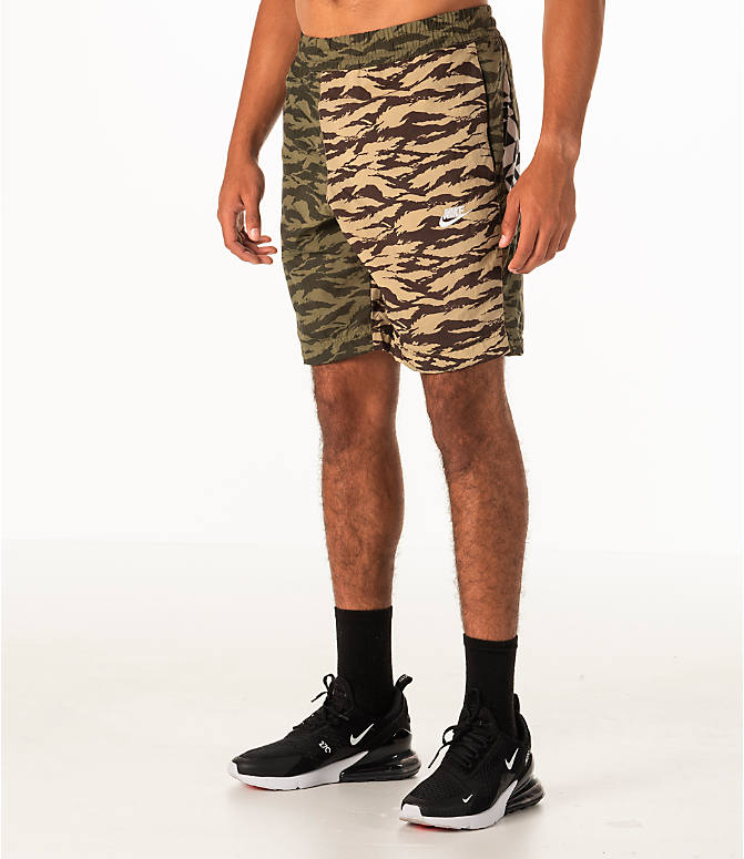Front Three Quarter view of Men's Nike Sportswear Vaporwave Shorts in Medium Olive/Black
