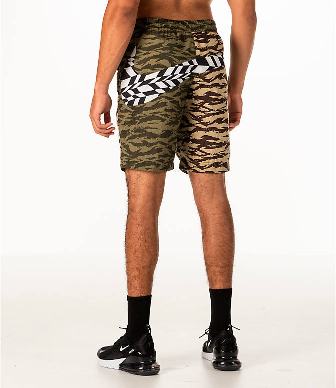 Back Left view of Men's Nike Sportswear Vaporwave Shorts in Medium Olive/Black