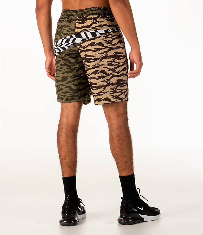 Back Right view of Men's Nike Sportswear Vaporwave Shorts in Medium Olive/Black