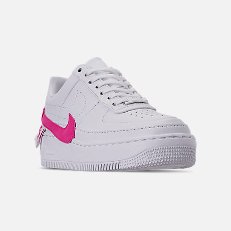 Three Quarter view of Women's Nike Air Force 1 Jester XX Casual Shoes in White/Laser Fuchsia