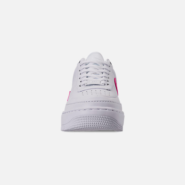 Front view of Women's Nike Air Force 1 Jester XX Casual Shoes in White/Laser Fuchsia