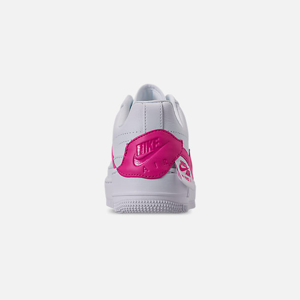 Back view of Women's Nike Air Force 1 Jester XX Casual Shoes in White/Laser Fuchsia