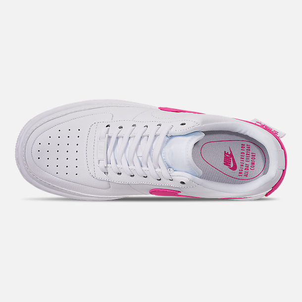 Top view of Women's Nike Air Force 1 Jester XX Casual Shoes in White/Laser Fuchsia