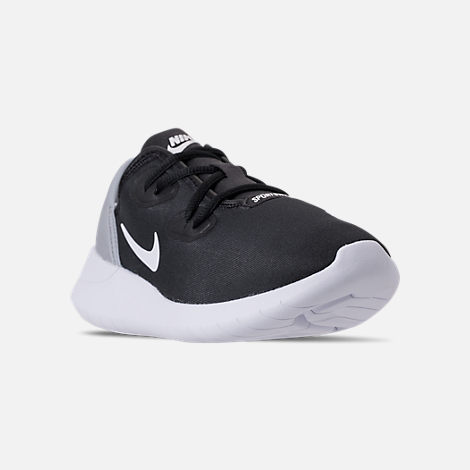 Three Quarter view of Boys' Grade School Nike Hakata Casual Shoes in Black/White/Wolf Grey