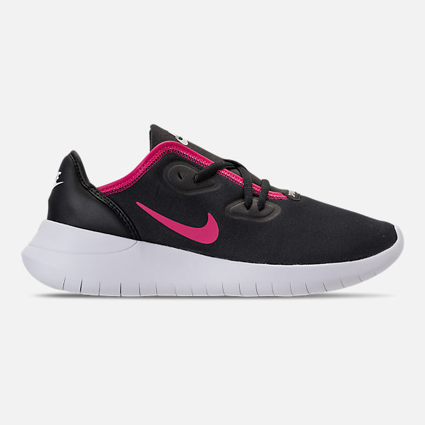 Right view of Girls' Grade School Nike Hakata Casual Shoes in Black/Rush Pink/White