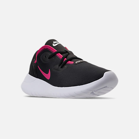 Three Quarter view of Girls' Grade School Nike Hakata Casual Shoes in Black/Rush Pink/White