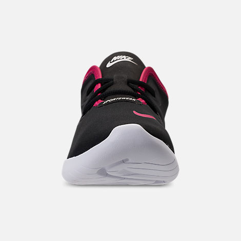 Front view of Girls' Grade School Nike Hakata Casual Shoes in Black/Rush Pink/White