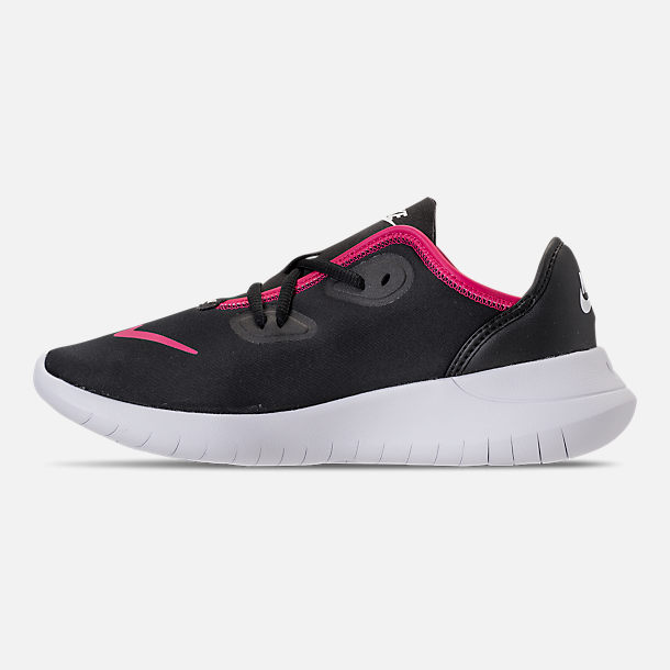 Left view of Girls' Grade School Nike Hakata Casual Shoes in Black/Rush Pink/White