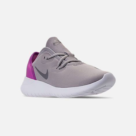 Three Quarter view of Girls' Big Kids' Nike Hakata Casual Shoes in Atmosphere Grey/Gunsome/Hyper Magenta