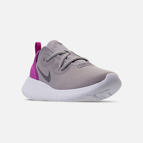 Three Quarter view of Girls' Preschool Nike Hakata Casual Shoes in Atmosphere Grey/Gunsmoke/Hyper Magenta