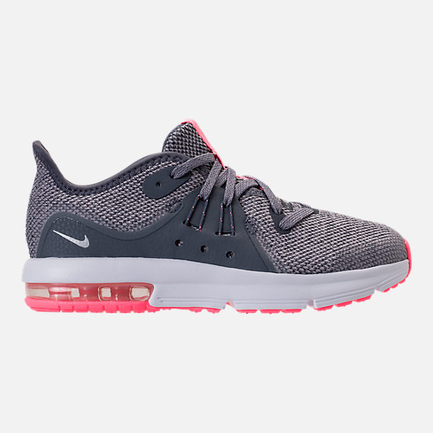 Right view of Girls' Preschool Nike Air Max Sequent 3 Running Shoes in Light Carbon/Metallic Silver/Atmosphere