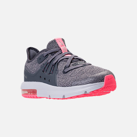 Three Quarter view of Girls' Preschool Nike Air Max Sequent 3 Running Shoes in Light Carbon/Metallic Silver/Atmosphere