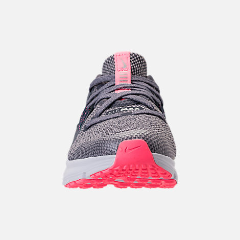 Front view of Girls' Preschool Nike Air Max Sequent 3 Running Shoes in Light Carbon/Metallic Silver/Atmosphere