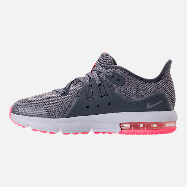 Left view of Girls' Preschool Nike Air Max Sequent 3 Running Shoes in Light Carbon/Metallic Silver/Atmosphere