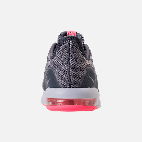 Back view of Girls' Preschool Nike Air Max Sequent 3 Running Shoes in Light Carbon/Metallic Silver/Atmosphere