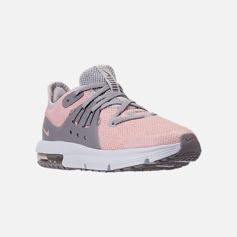 Three Quarter view of Girls' Preschool Nike Air Max Sequent 3 Running Shoes