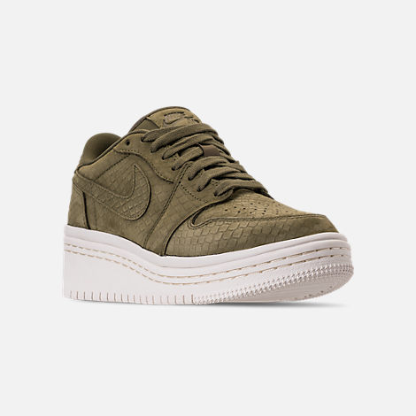 Three Quarter view of Women's Air Jordan Retro 1 Low Lifted Casual Shoes in Olive