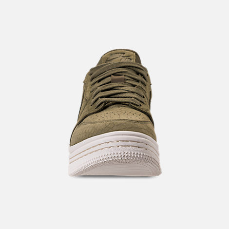 Front view of Women's Air Jordan Retro 1 Low Lifted Casual Shoes in Olive