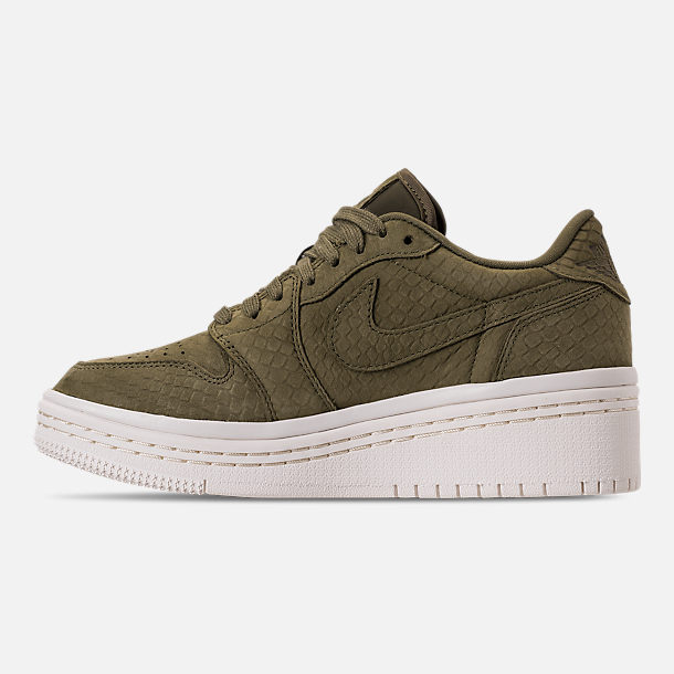 Left view of Women's Air Jordan Retro 1 Low Lifted Casual Shoes in Olive