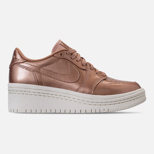 Right view of Women's Air Jordan Retro 1 Low Lifted Casual Shoes in Metallic Red Bronze/Metallic Red Bronze