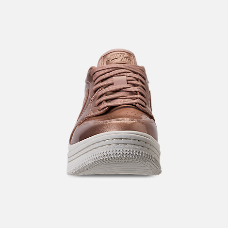 Front view of Women's Air Jordan Retro 1 Low Lifted Casual Shoes in Metallic Red Bronze/Metallic Red Bronze