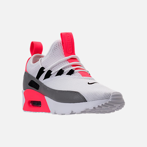 Three Quarter view of Women's Nike Air Max 90 Ultra 2.0 Ease Casual Shoes in White/Dust/Solar Red/Black