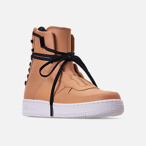 Three Quarter view of Women's Nike Air Force 1 Rebel XX Casual Shoes in Praline/Black/Summit White