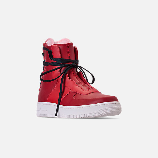 Three Quarter view of Women's Nike Air Force 1 Rebel XX Casual Shoes in Gym Red/Arctic Pink/Summit White