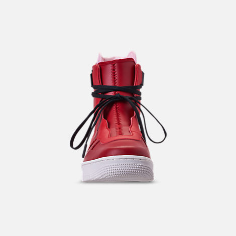 Front view of Women's Nike Air Force 1 Rebel XX Casual Shoes in Gym Red/Arctic Pink/Summit White