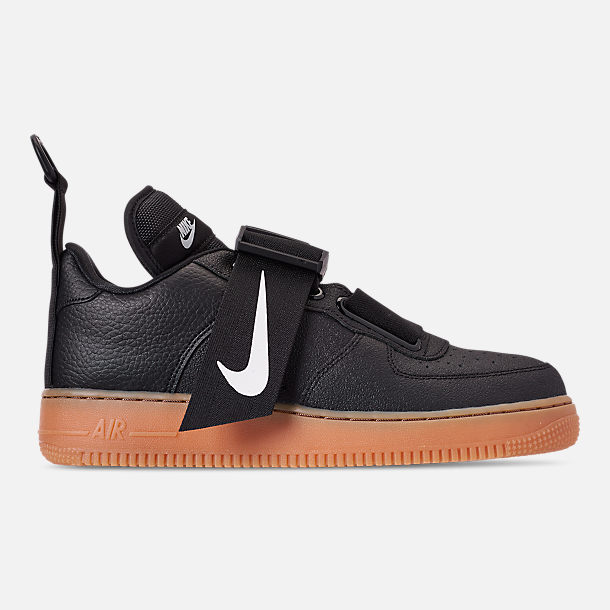 Right view of Men's Nike Air Force 1 Utility Casual Shoes in Black/White/Gum Medium Brown