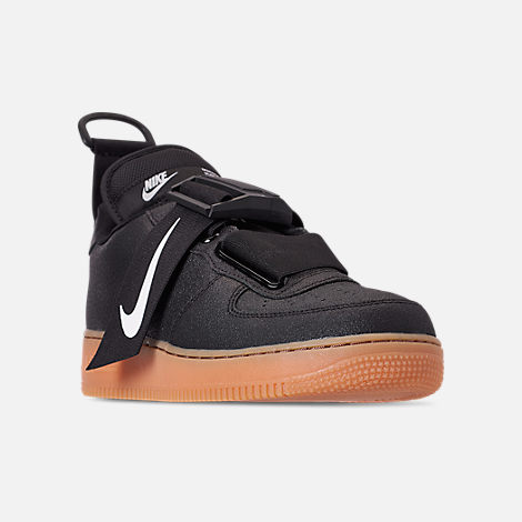 Three Quarter view of Men's Nike Air Force 1 Utility Casual Shoes in Black/White/Gum Medium Brown