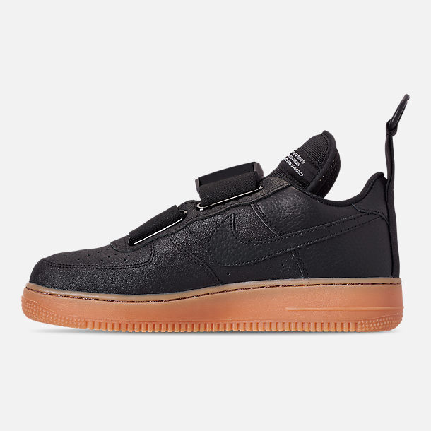 Left view of Men's Nike Air Force 1 Utility Casual Shoes in Black/White/Gum Medium Brown