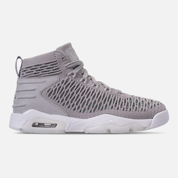 Right view of Boys' Grade School Jordan Flyknit Elevation 23 Basketball Shoes in Atmosphere Grey/Atmosphere Grey