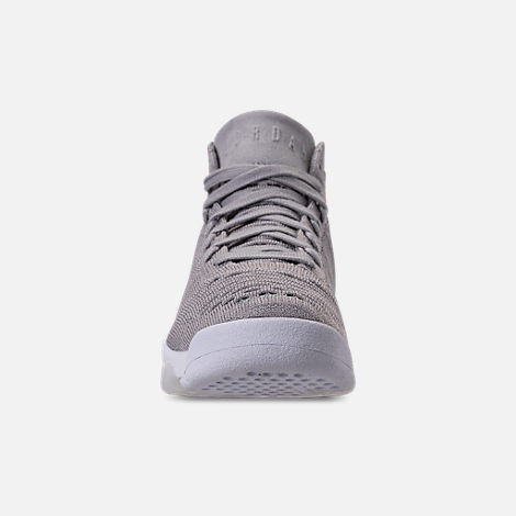 Front view of Boys' Grade School Jordan Flyknit Elevation 23 Basketball Shoes in Atmosphere Grey/Atmosphere Grey