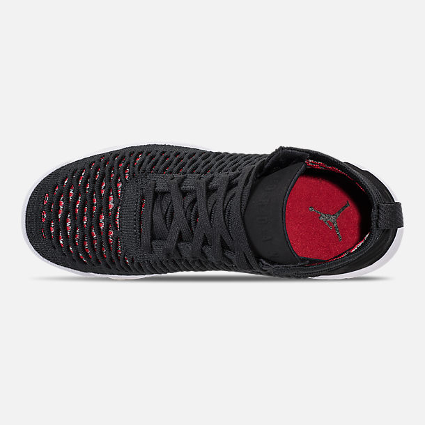 Top view of Boys' Big Kids' Jordan Flyknit Elevation 23 Basketball Shoes in Black/University Red/White