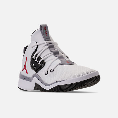 Three Quarter view of Men's Air Jordan DNA Off-Court Shoes in White/Gym Red/Black